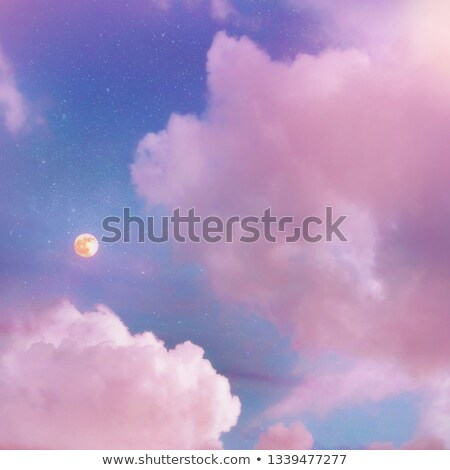 Rózsaszín felhők hold menny közelkép égbolt Stock fotó © Juhku