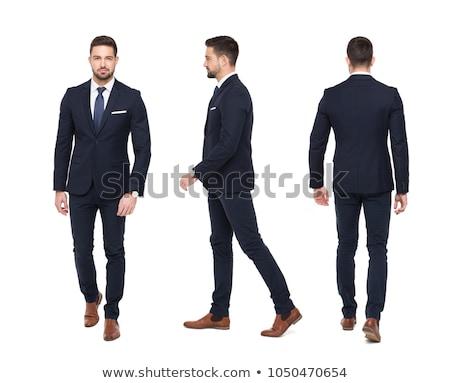 üzletember séta izolált hátulnézet munka háttér Stock fotó © fuzzbones0