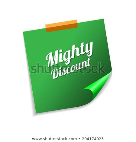 Machtig korting groene sticky notes vector icon Stockfoto © rizwanali3d
