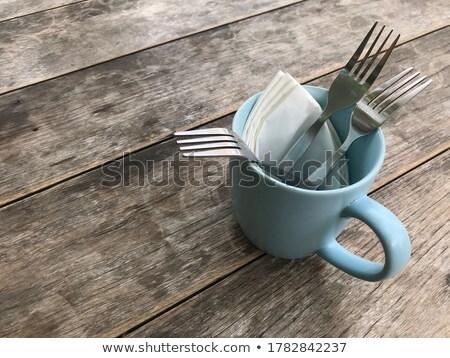 Papírzsebkendő papír kerámia csésze fa asztal stock Stock fotó © punsayaporn