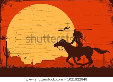 Native American Indian on horseback at sunset Stock photo © adrenalina