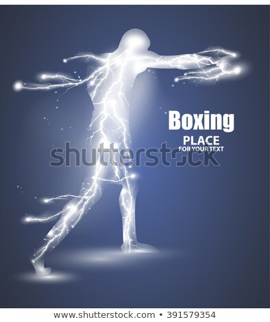 Abstract boxing from dot, flying lightning, vector stock photo © Samoilik