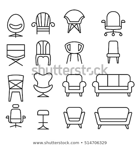 Folding chair line icon. vector illustration © Andrei ...