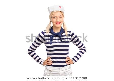 笑みを浮かべて · 女性 · 船乗り · ポーズ · 美しい · 青 - ストックフォト © NeonShot