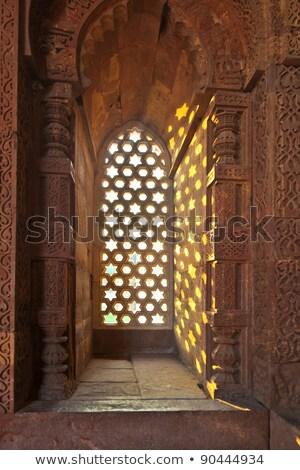 Delhi homokkő ablak minta égbolt csillagok Stock fotó © meinzahn