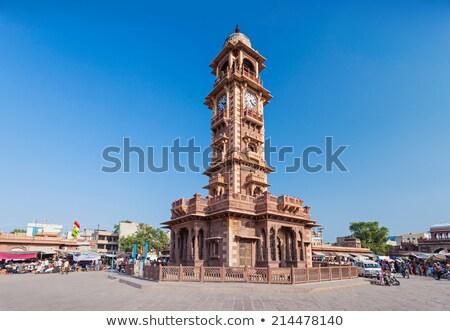 Beroemd klok toren stad straat tijd Stockfoto © meinzahn