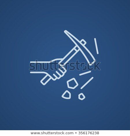 Hand using pickax line icon. Stock photo © RAStudio