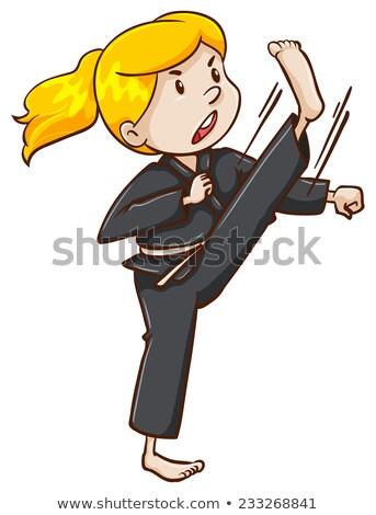 Rysunek sztuki walki artysty ilustracja biały fitness Zdjęcia stock © bluering