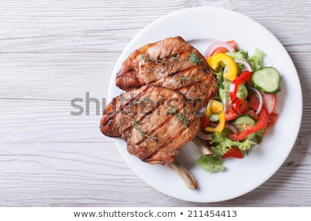 white plate with meat stock photo © dmitroza