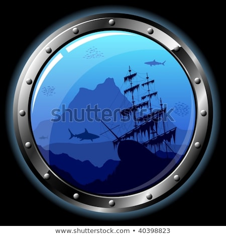 Underwater ship porthole background with shark, vector illustration Stock photo © carodi