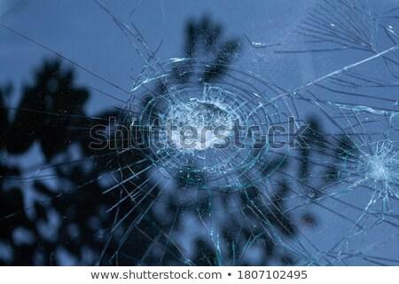 пуля · лобовое · стекло · сломанной · старые · грузовика - Сток-фото © stockfrank