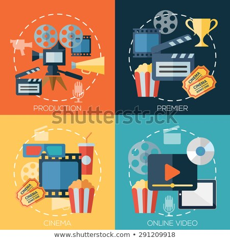 Retro cinematography banners with icons flat design Stock photo © LoopAll
