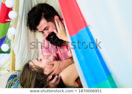 portré · mosolyog · pár · sátor · táborhely · nő - stock fotó © deandrobot