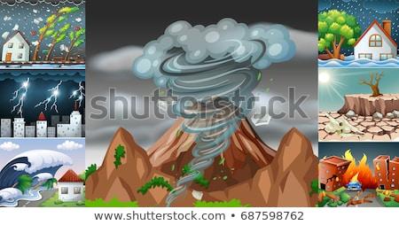 vulcão · noite · ilustração · fogo · paisagem - foto stock © bluering