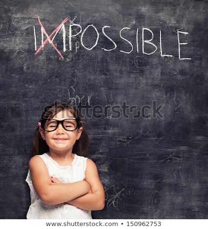 Blackboard · tekst · onmogelijk · business · hand · zwarte - stockfoto © fuzzbones0