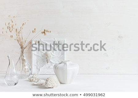 Stockfoto: Soft Home Decor Of Seashells And Glass Vase With Spikelets On White Wood Background