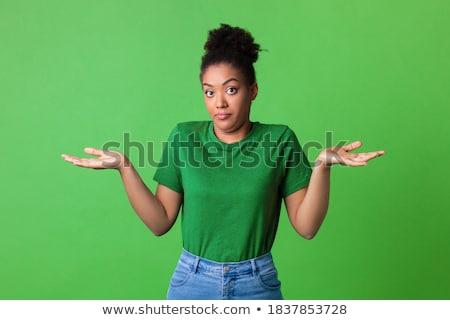Zöld arckifejezés illusztráció arc háttér művészet Stock fotó © bluering