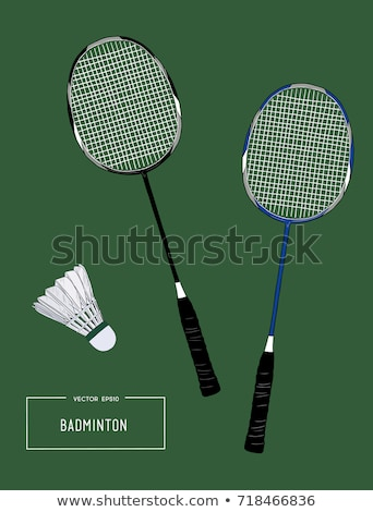 Shuttlecock and badminton racket sketch icon. Stock photo © RAStudio