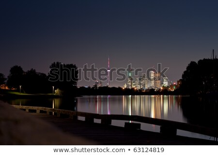toronto skyline at night from ashbridges bay stock photo © brianguest