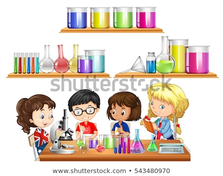 Kids doing science experiment and set of beakers Stock photo © bluering