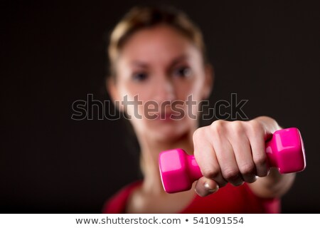 woman fighting her fat stacking weightlifting Stock photo © Giulio_Fornasar