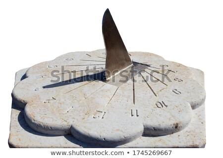 Witte marmer zonnewijzer opschrift koninklijk tijd Stockfoto © searagen