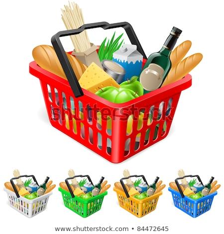 green vector 3d shopping basket symbol stock photo © blumer1979