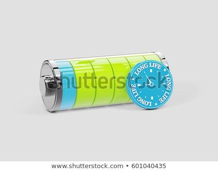 Hosszú élet elem energia 3d illusztráció zöld Stock fotó © tussik