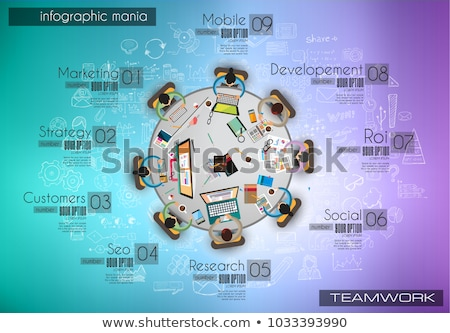 Infograph background template with a temworking brainstorming table Stock photo © DavidArts