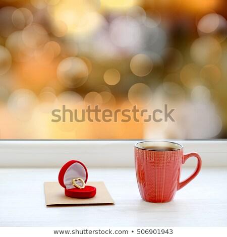 Bruiloft glas verloofde twee bloemen liefde Stockfoto © konturvid
