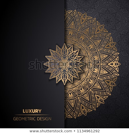 mandala card design with ornamanetal decoration in golden color stock photo © sarts