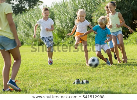 children playing at school lawn stock photo © bluering