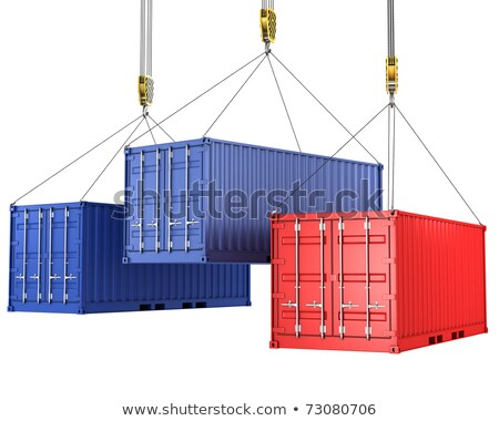 Stockfoto: Three Freight Containers Are Being Hoisted