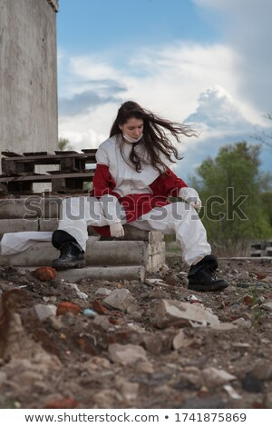 girl in an abandoned building stock photo © tekso