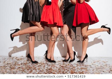 Vonzó divat nő fekete ruha napszemüveg pózol Stock fotó © tekso