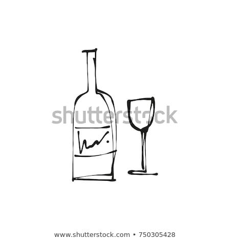 Hand Drawn Illustration Wine Glass and Bottle Stock photo © Mamziolzi