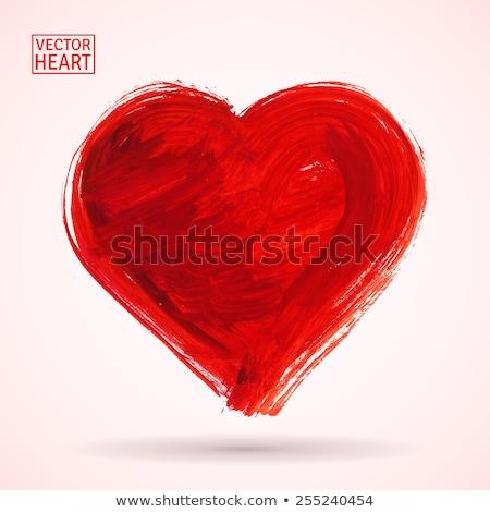 Pintado rojo corazón cepillo textura Foto stock © butenkow