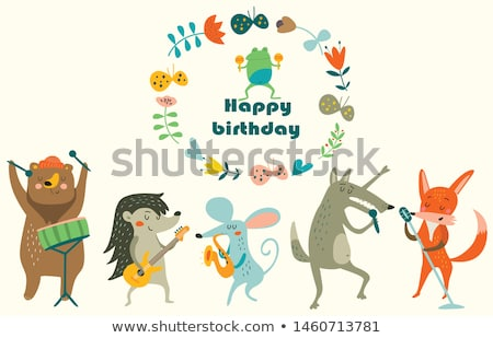 cute cartoon animals party and singing music  Stock photo © aminmario11