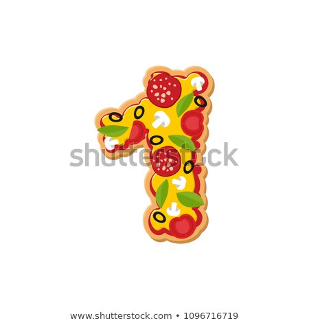 Number 1 pizza font. Italian meal alphabet numeral one. Lettring Stock photo © popaukropa