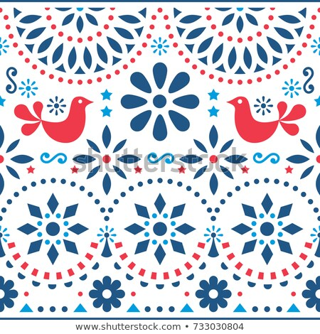 Mexican folk art vector seamless pattern with birds and flowers, red and blue fiesta design inspired Stock photo © RedKoala