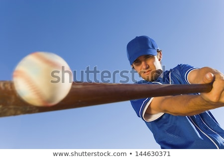 cartoon · giocatore · di · baseball · bat · design · baseball · home - foto d'archivio © rastudio
