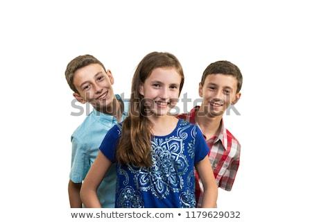 Teen triplet boys smiling portrait Stock photo © IS2