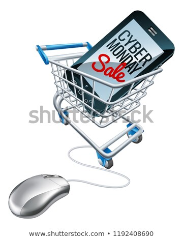Cyber Monday Sale Phone Trolley Mouse Sign Stock photo © Krisdog