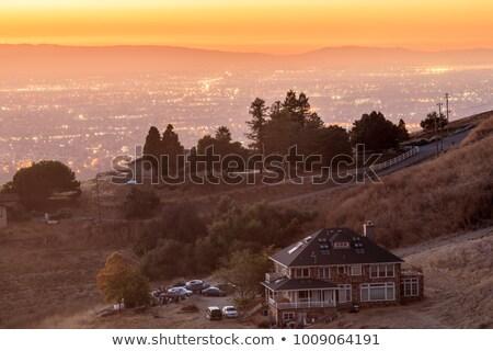 Foto stock: Casa · colina · olhando · silício · vale