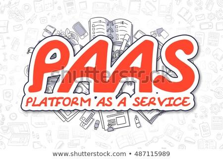 Doodle Rood opschrift business illustratie infrastructuur Stockfoto © tashatuvango