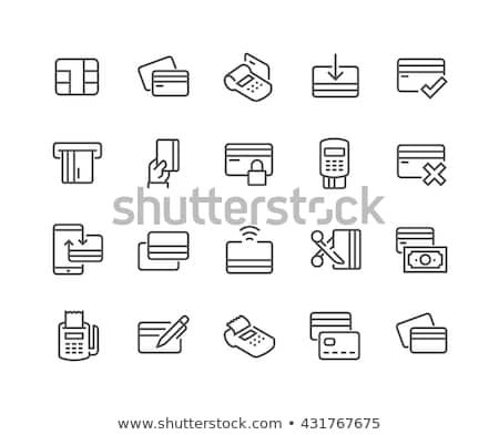 Kártyapakli vonal ikon sarkok háló mobil Stock fotó © RAStudio