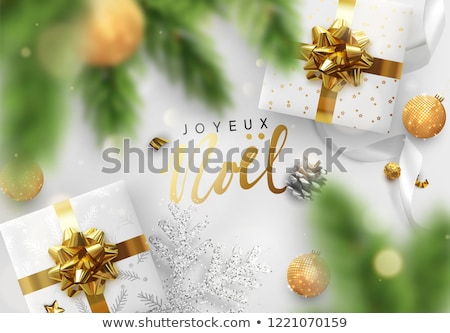 Vector Christmas Illustration with French Joyeux Noel Typography on Shiny Green Background. Holiday  Stock photo © articular