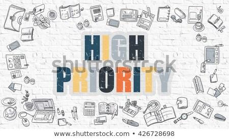 Hoog prioriteit doodle ontwerp witte Stockfoto © tashatuvango
