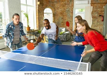 Foto stock: Homens · de · negócios · jogar · tênis · de · mesa · negócio · escritório · esportes
