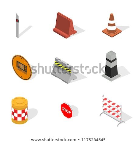 Set of road water barrel in 3D, vector illustration. Stock photo © kup1984